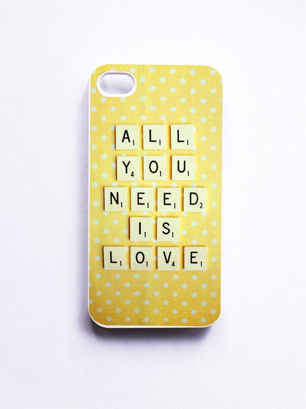 iPhone Case: All You Need is Love. Retro Scrabble. White Case. iPhone 4s Case. Yellow White Polka Dots. Typography. (IN STOCK) - happeemonkee