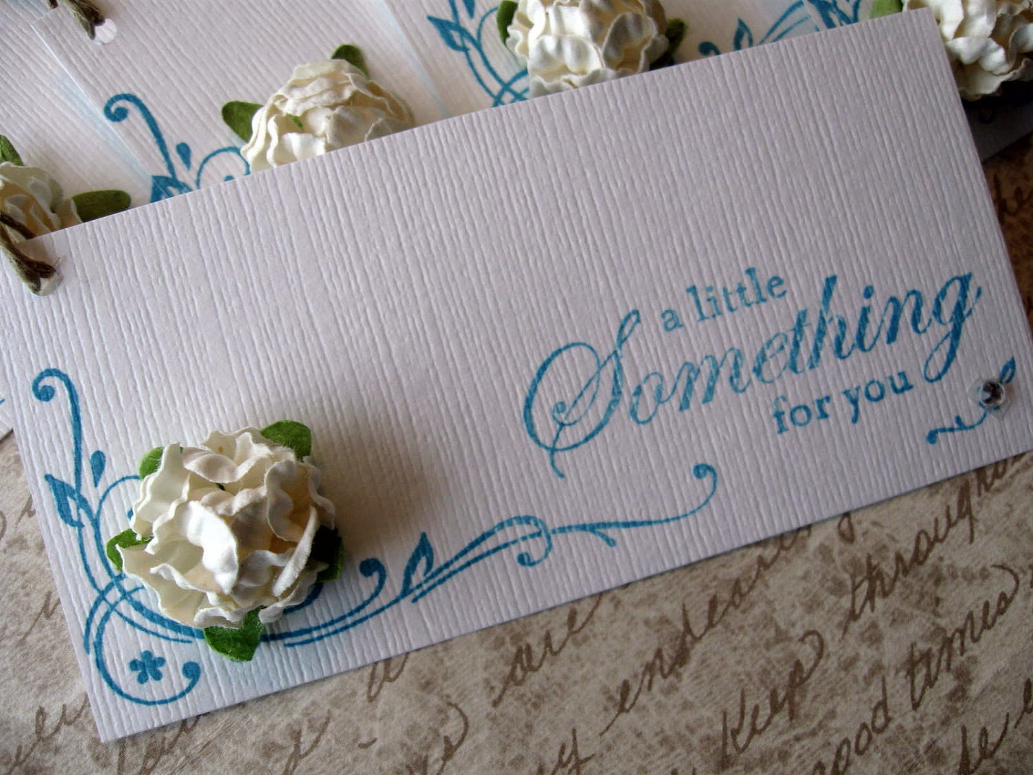 Something For You Tags - Set of 5 White with White Flower