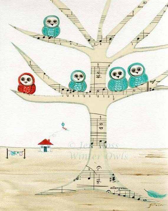 "Owl Nursery Print - Whimsical Owl Painting ""Owls dwell here"" - WinterOwls"