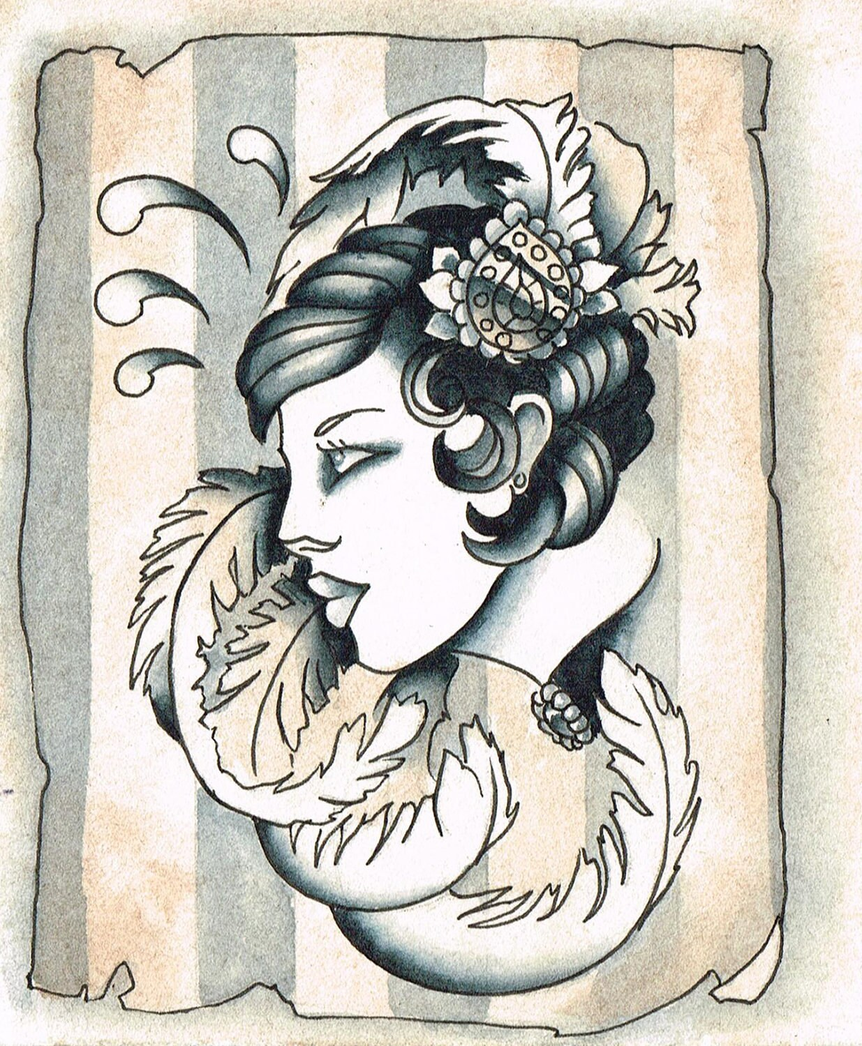 Vintage Tattoo Style Showgirl Prints 8x10 inch