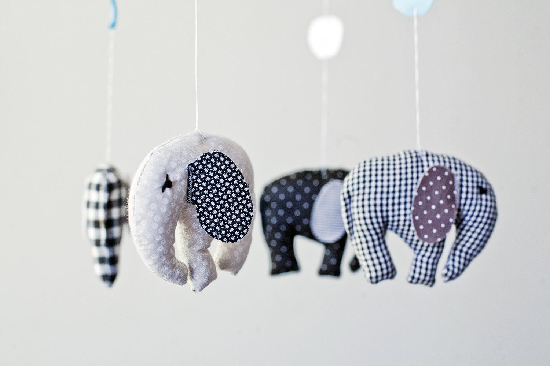 Elephants in circus in black&white baby crib by Machookahandmade