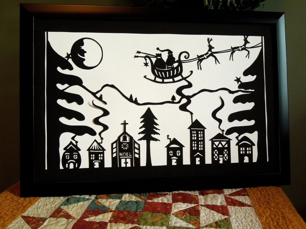 Retro Paper Cut Christmas Village with Santa Sleigh Reindeer Laughing Moon Wall Art