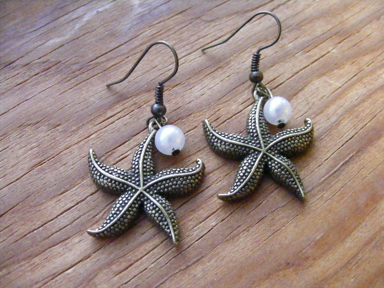Earrings Bronze Starfish & Pearls