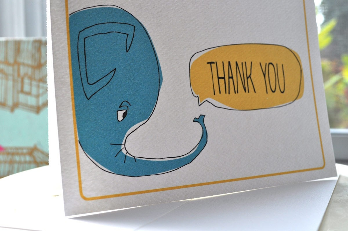 Elephant Thought Quote Bubble Thank You Cards gift set with stickers