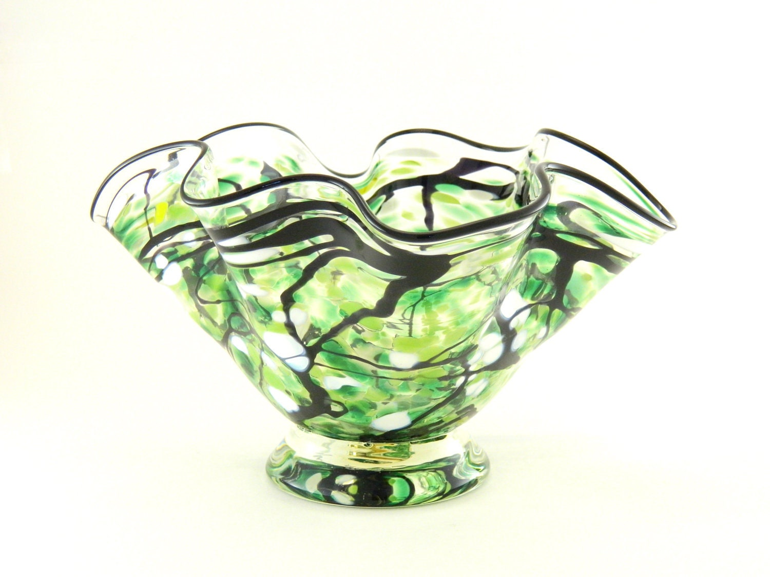 Hand Blown Art Glass Bowl - Freeform - Emerald Green, Apple Green, White, and Black - ParadiseArtGlass