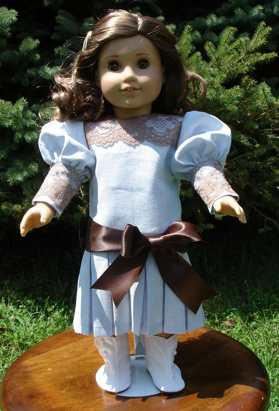 Titanic Era Blue Linen Brown Lace Dress fits American Girl Rebecca and other 18 inch dolls