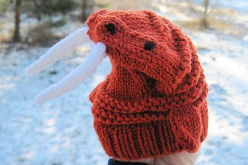 Walrus handpuppet knitting pattern PDF