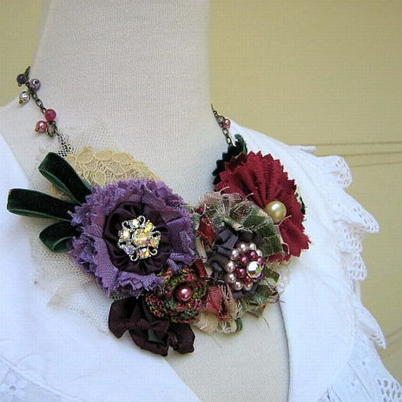 Flower Bib Statement Necklace in Nostalgic Violet and Mulberry