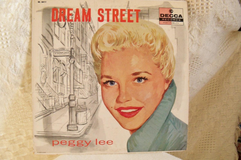 Antique Peggy Lee Record Album Dream Street Decca 1957 Rare