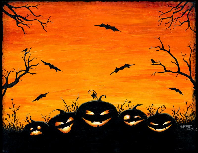 "Halloween art, ""Watchers in the Woods"" pumpkin digital art print - onelizziemonster"