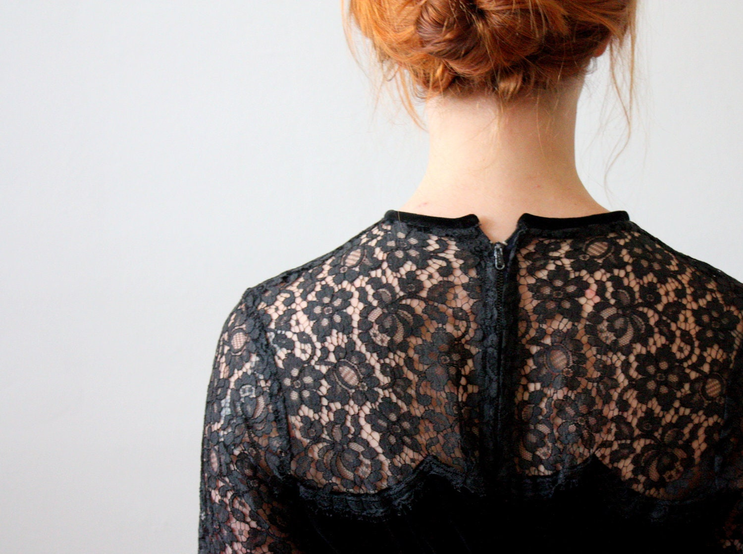 1950's dress - black 50's lace dress - Thrush