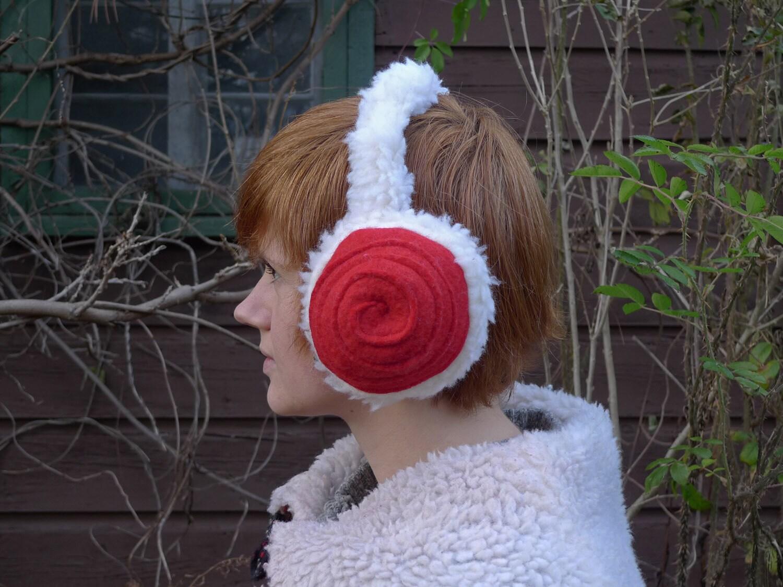 meerwiibli red leia fluffy earmuffs - meerwiibli