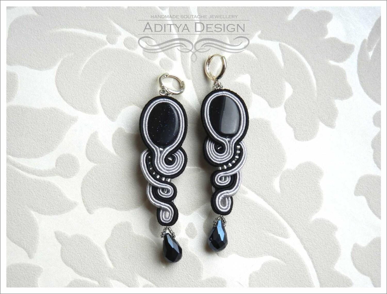 Medusa Night Cairo original. unique, very elegant black and gray handmade soutache earrings - AdityaDesign