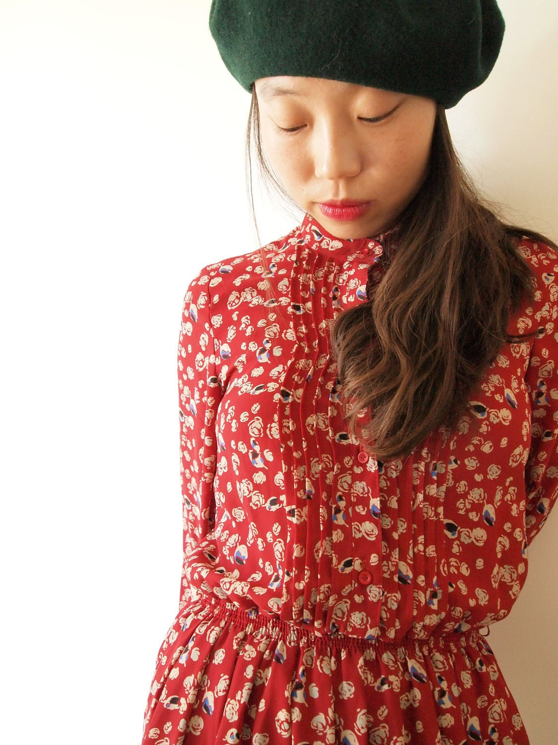 Red vintage dress, white rose pattern, xs - s, Japanese