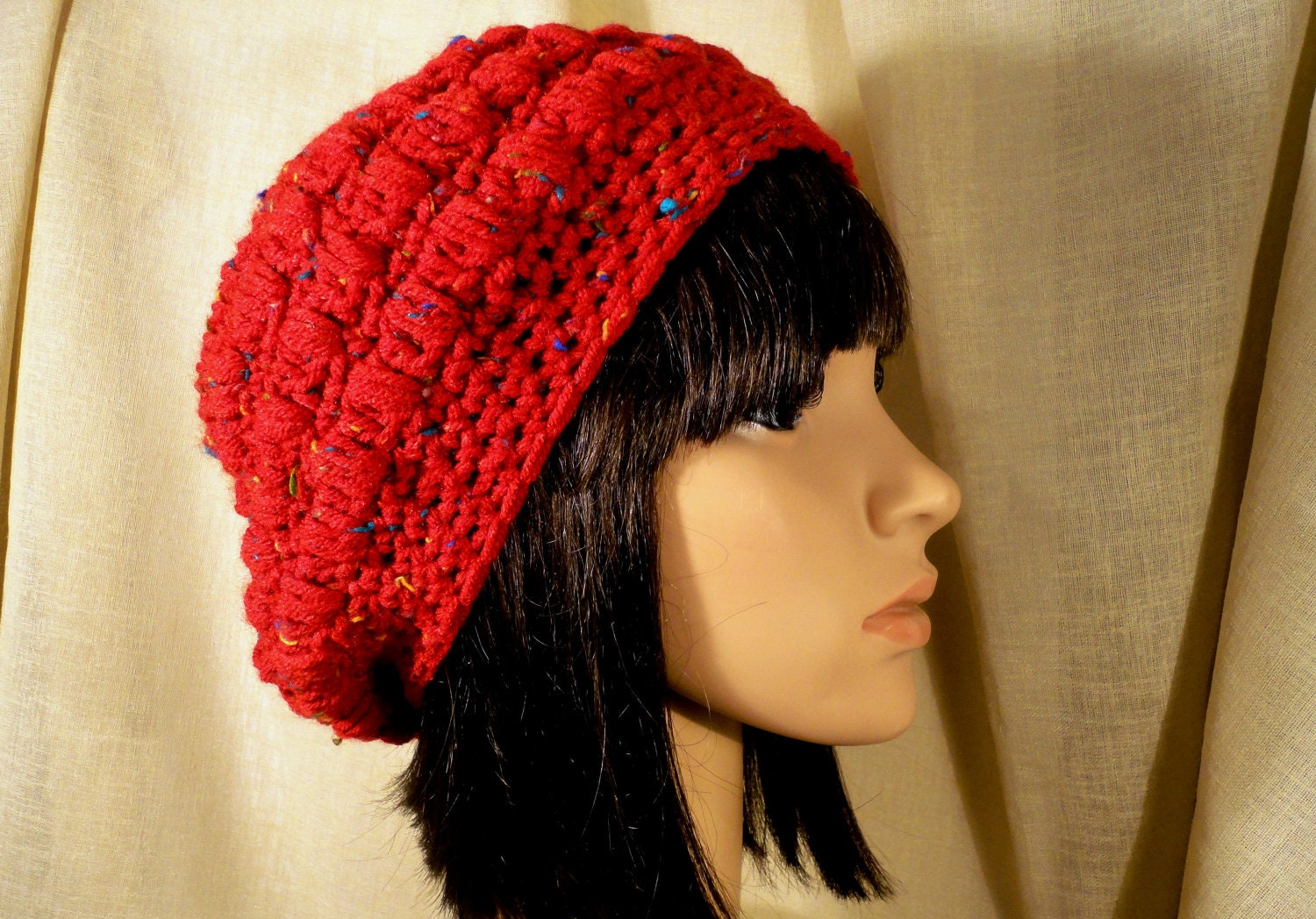Crochet Slouchy Hat Beanie Rasta Red with Flecks Teen or Woman
