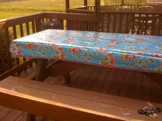Oilcloth Custom made Picnic Table Stay Put Table Cover with Rick Rack - maryoglesby