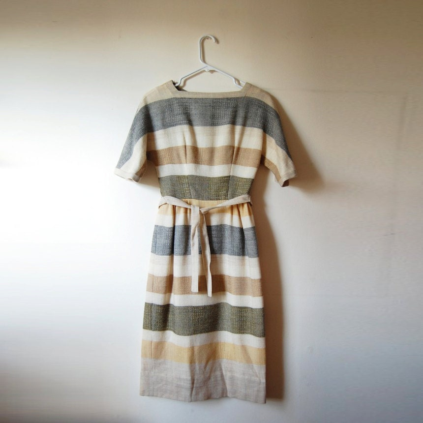 Vintage 1950s Multi-tone Shift Dress with Horizontal Stripe Pattern and Belt - ON THE HORIZON