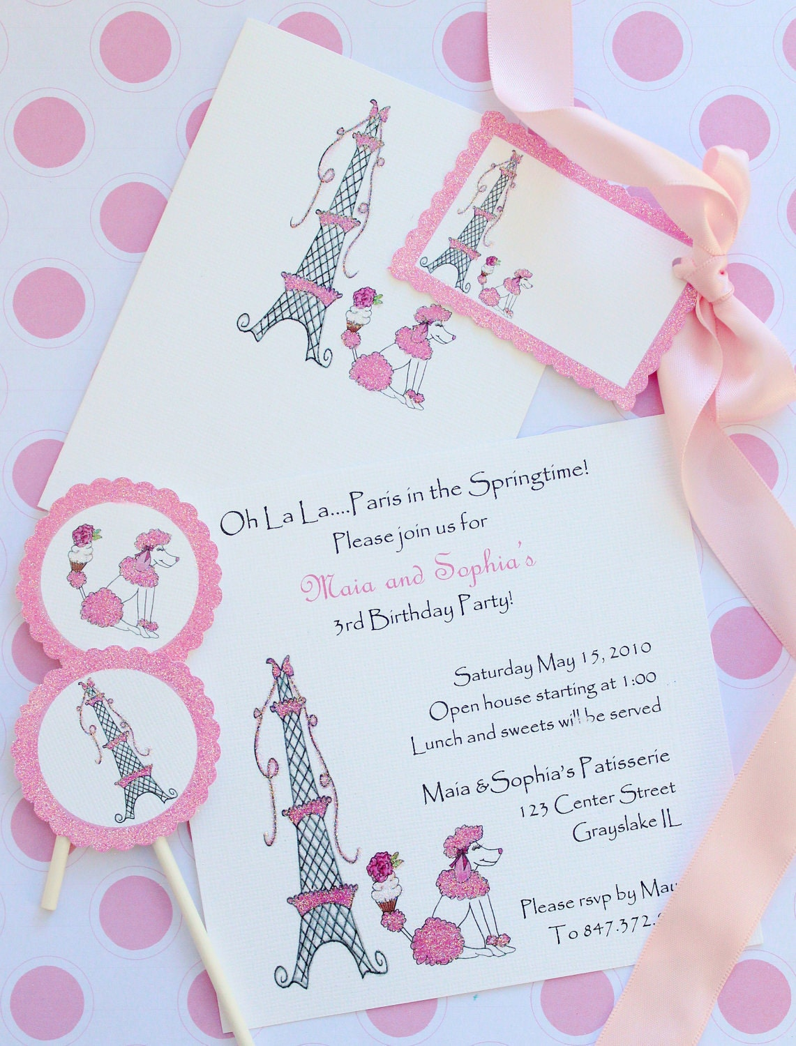 Eiffel Tower and French Poodle-Birthday Invitations, Cards, Cupcake Flags and Gift Tags