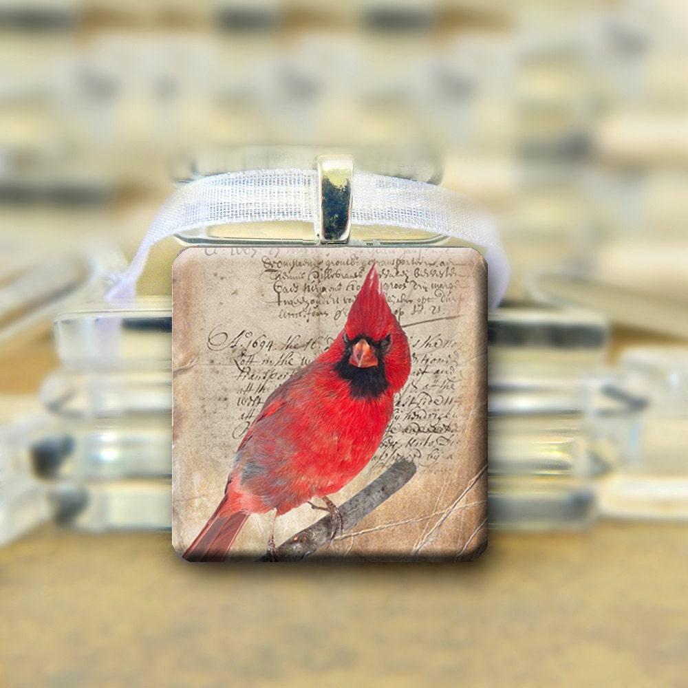 Cardinal Glass Pendant Necklace - glitteringdreams