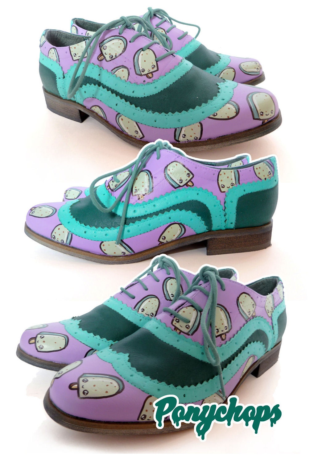 Mint Choc Chip Kawaii Brogues - Sz UK 4, US 6.5, Eur 37