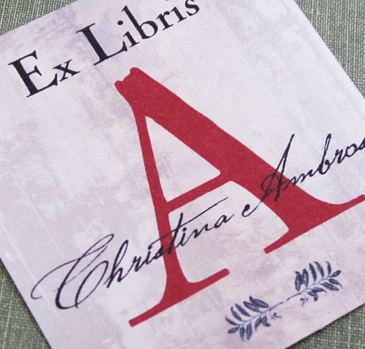 Personalized Bookplate with Scarlet Letter Initial, set of 24 - CharmingElizabeth