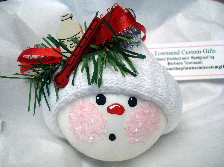 Medical Themed Christmas Ornaments : Nurse ornament christmas handmade hand by townsendcustomgifts