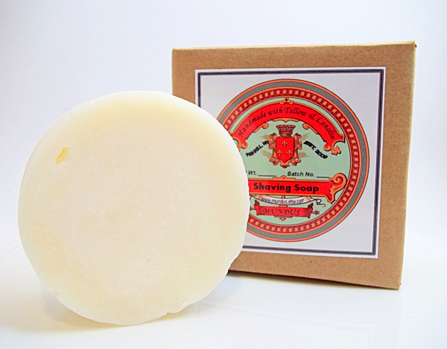 Set of Two (2)  Soaps - Ultimate Shaving Soap with Tallow & Lanolin - True Shaving Soap for Discerning Wet Shavers - Mundus