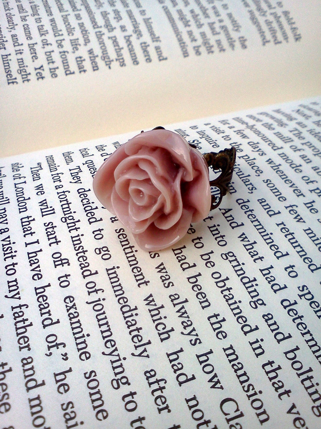 Victorian Rose Cabochon Ring in Pretty Pastels