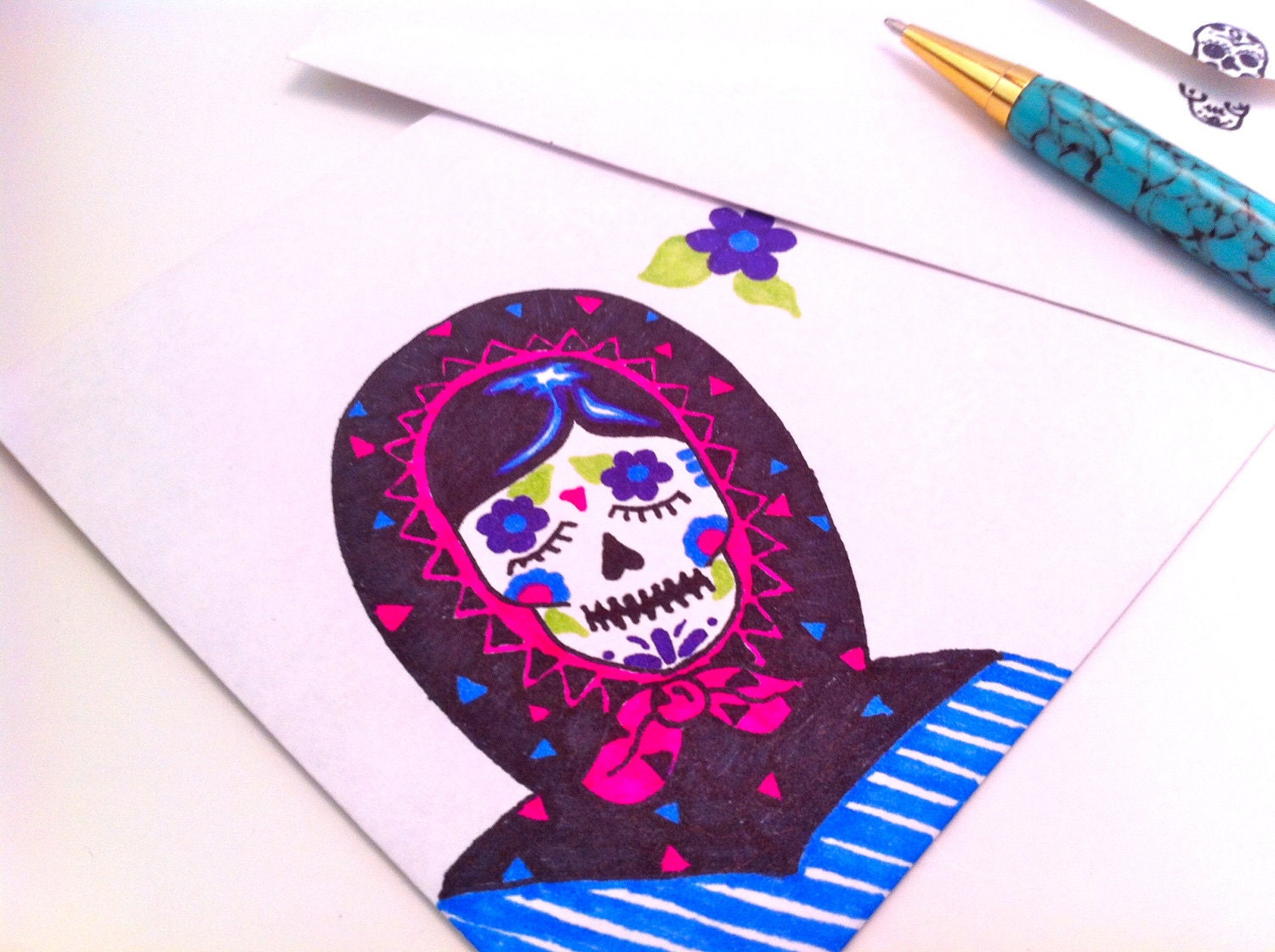 Sugar Skull Envelope Hand Drawn Matryoshka Black Blue and Pink