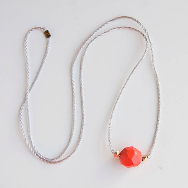 Fun vintage red bead long necklace on grey cord - littlebrightstudio