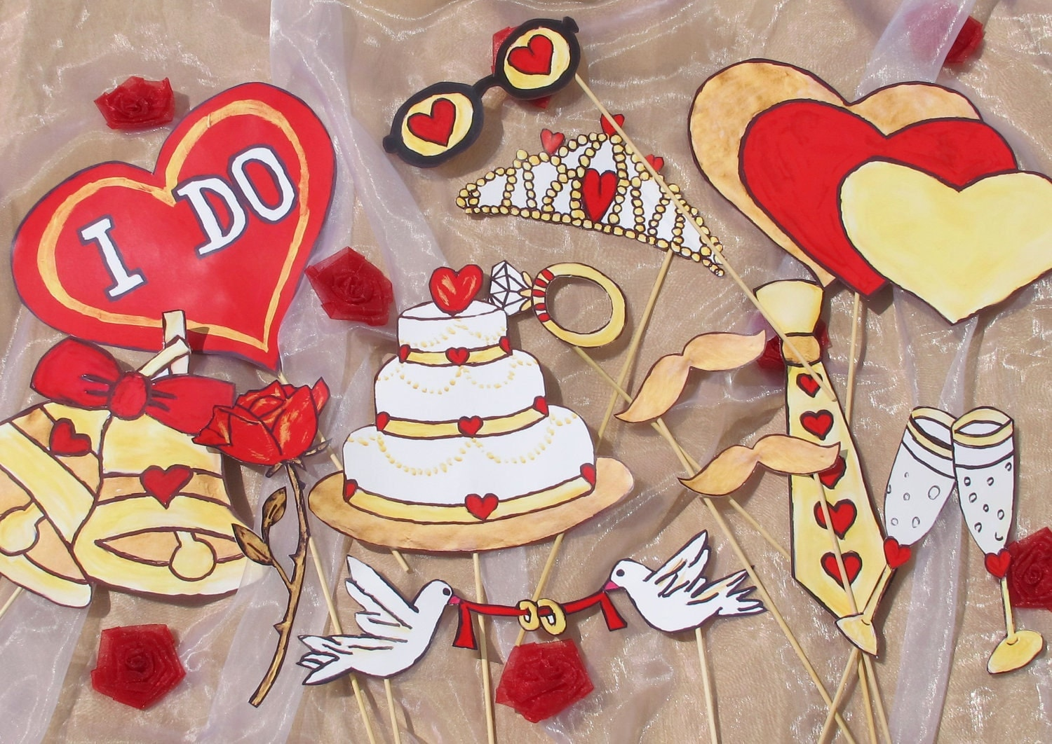 engagment or wedding photo booth props - crazy in love - golden and red