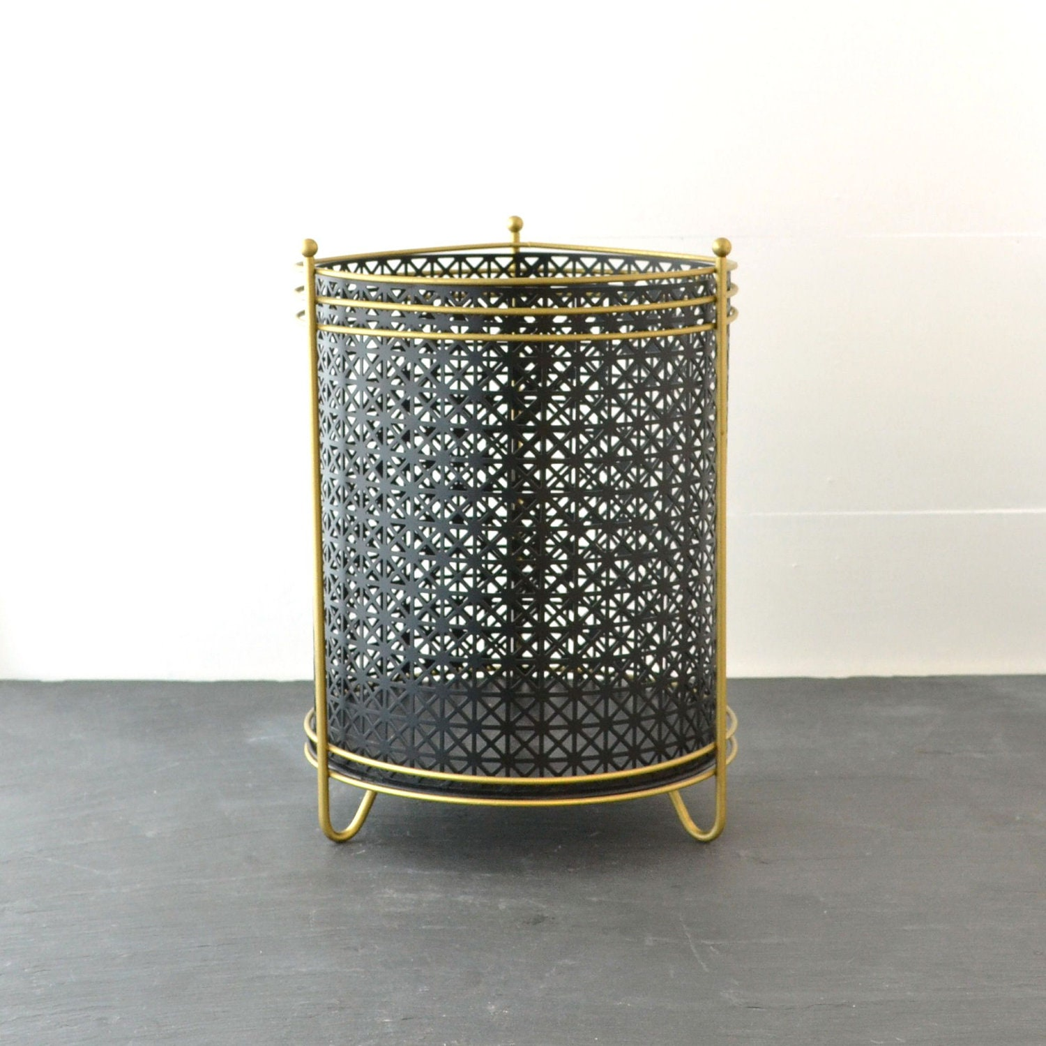 Mid Century Trash Can - Metal Waste Basket - Vintage Trash Can - Black Gold - Office - VintageResolution