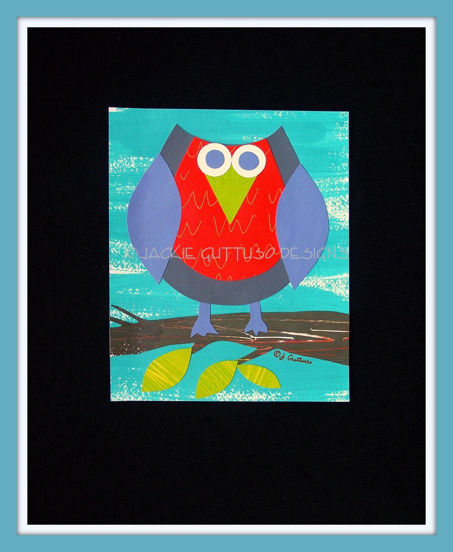Owl art, original, 8 x 10, kids owl art, orange, gray, forest animal art, woodland art, nursery owl art, modern nursery, owl home decor