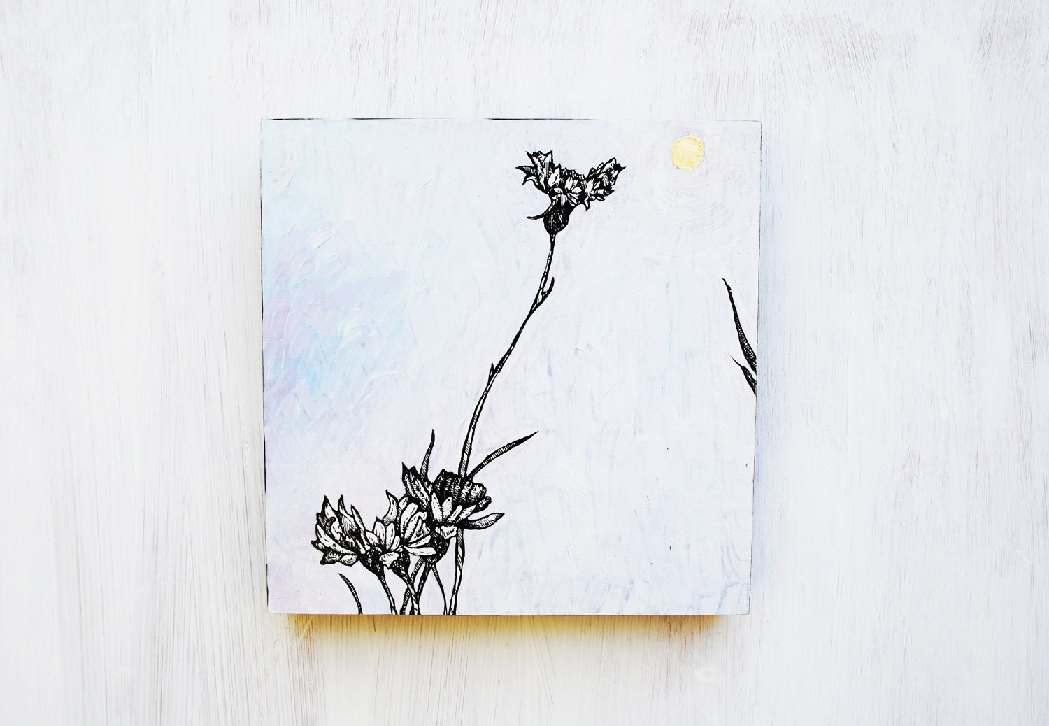 Bachelor's Buttons - Wild Flower Field Study Painting - Original Art - 6x6  Wall Art.  White.  Home Decor.  Drawing.  Square.  Woodland. - SorchaMoon