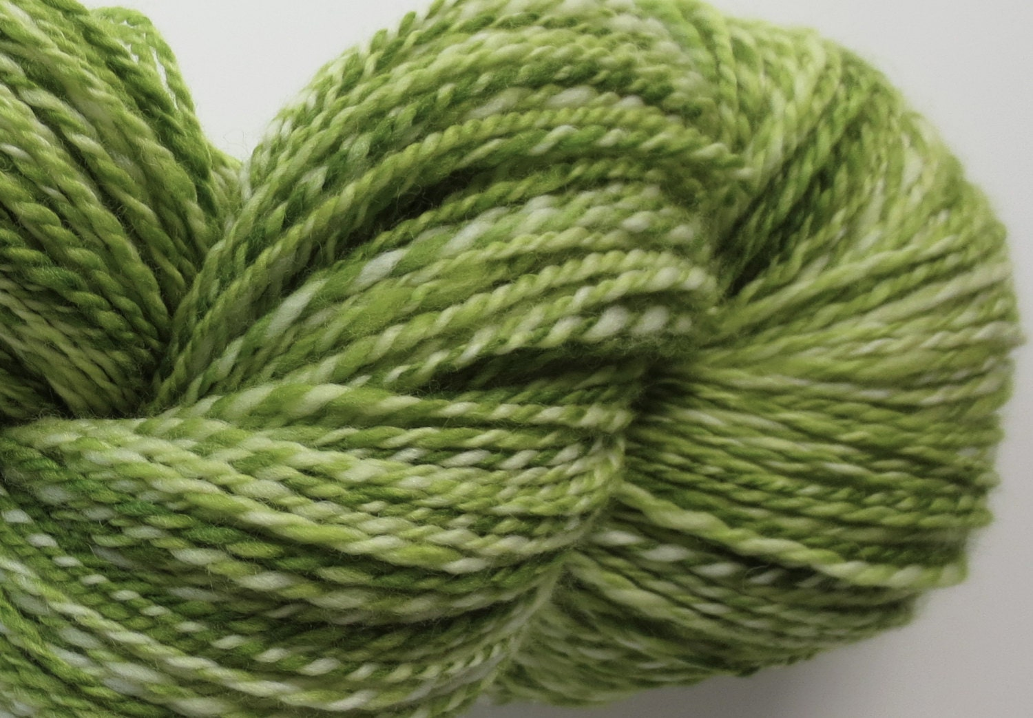 Spring Green Superwash Merino Handspun yarn 338 yards, DK- Light worsted weight