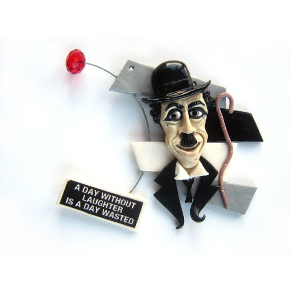 Charlie Chaplin Polymer Clay Necklace made to order