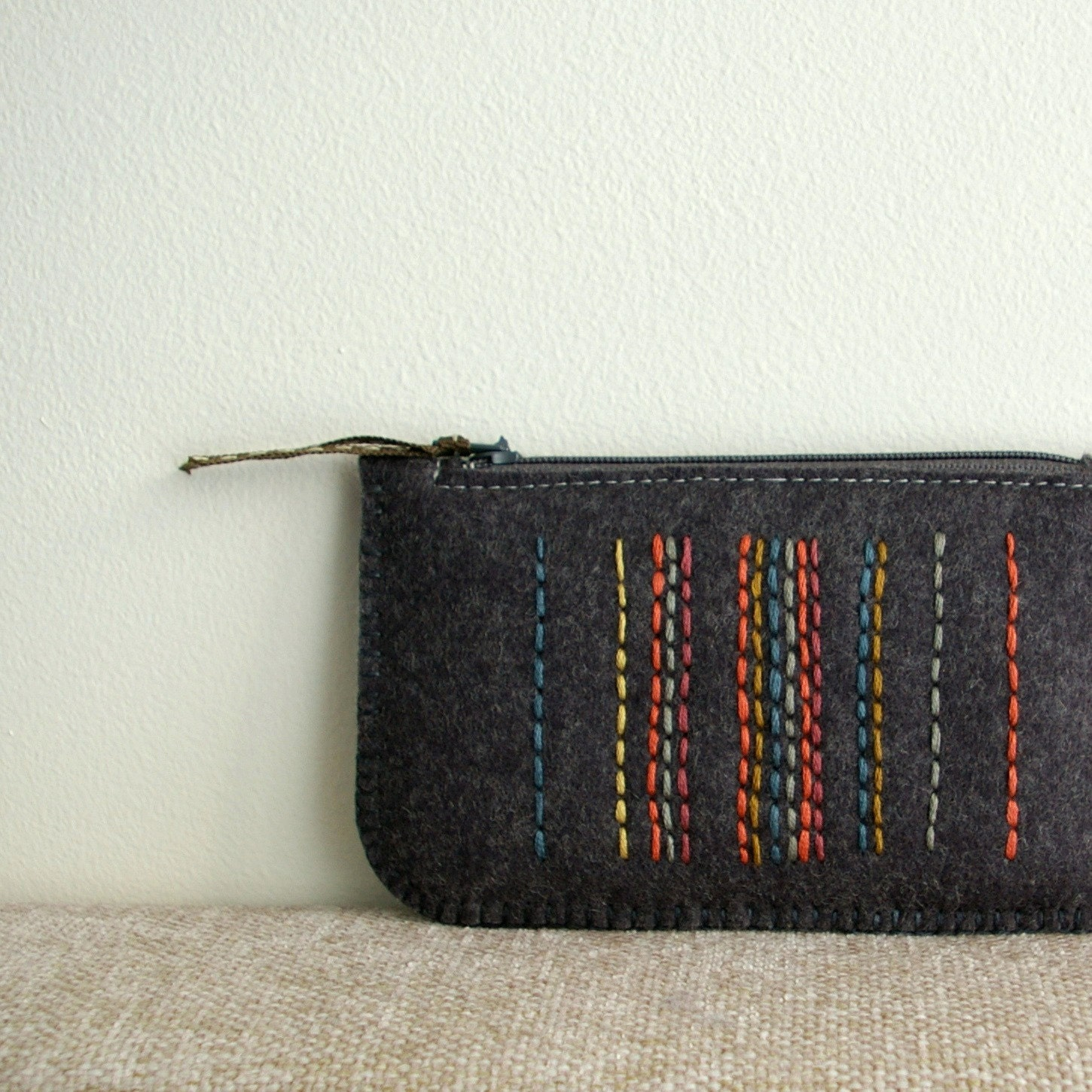 Licorice in Spice Market: Hand-Embroidered Wool Felt Coin Purse or iPhone Cozy - LoftFullOfGoodies