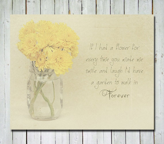 Flower photography - Yellow chrysanthemum - mason jar - print with quote - wall art home decor nursery art - 8X10 - RetroLovePhotography