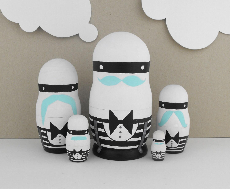 Mustache Nesting Dolls Matryoshka Babusha Russian