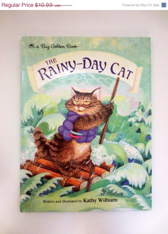 Summer Clearance The Rainy-Day Cat (1989) by Kathy Wilburn  - Vintage Childrens Book - A Big Golden Book - ExceedinglyWellRead