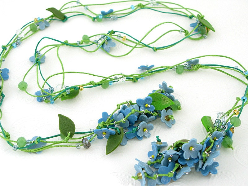 Blue floral lariat. Forget-me-not bouquet polymer clay necklace. Handcrafted unique jewelry. FREE SHIPPING. Made to order