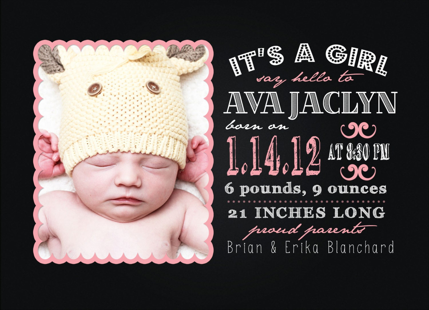 Custom Digital Baby Boy or Baby Girl Photo Birth Announcement, 5x7 PRINTABLE - BA5