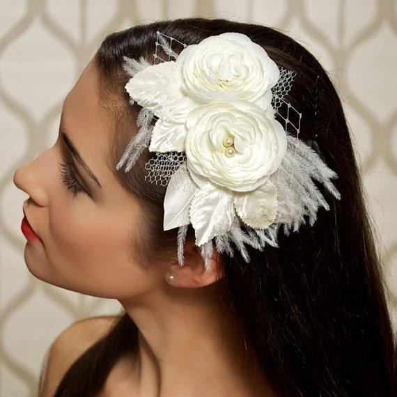 Ivory Bridal Headpiece Ivory Hair Flowers Wedding Head Piece Wedding Hair