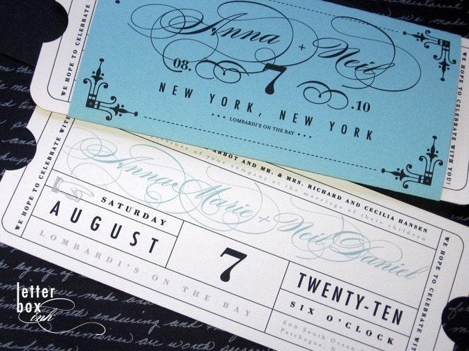 Formal Vintage Ticket Wedding Invitation