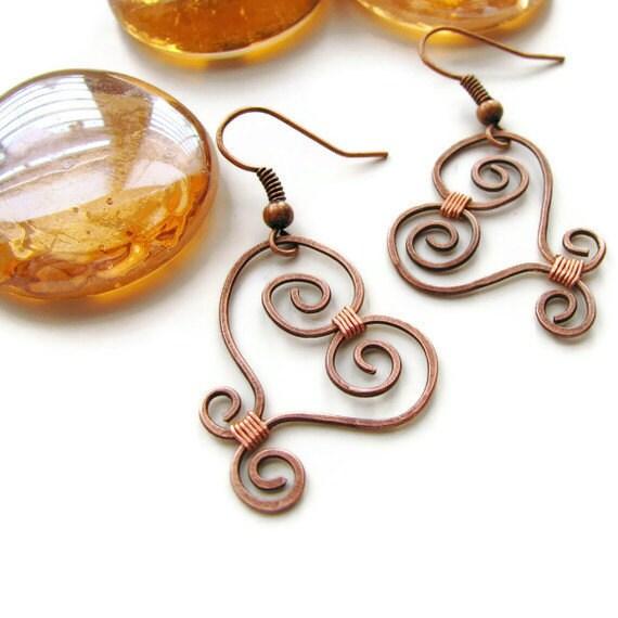 Rustic Wire Heart Earrings, Copper Wire Wrapped -Swirly Heart - heversonart