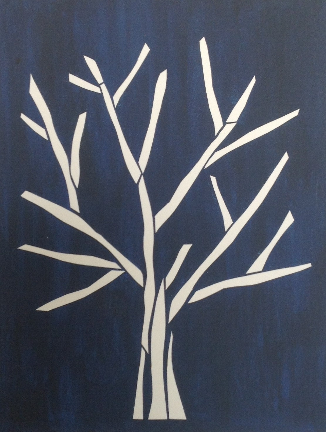 Paper Tree Blue, simple paper collage, bare branches, small print, navy blue paint - plumwaterdesigns