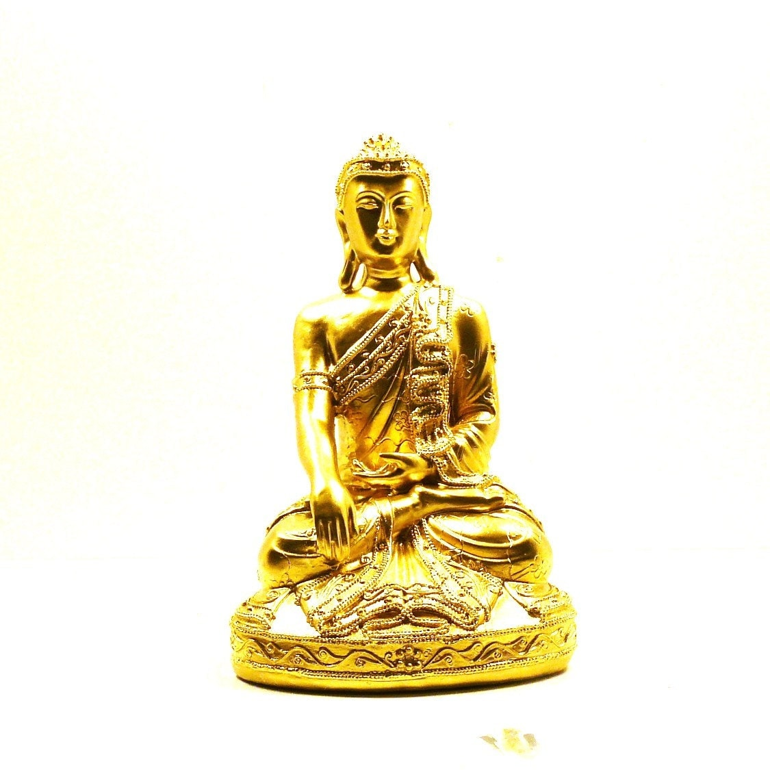 gold buddha statue thai home decor upcycled figurines by nashpop