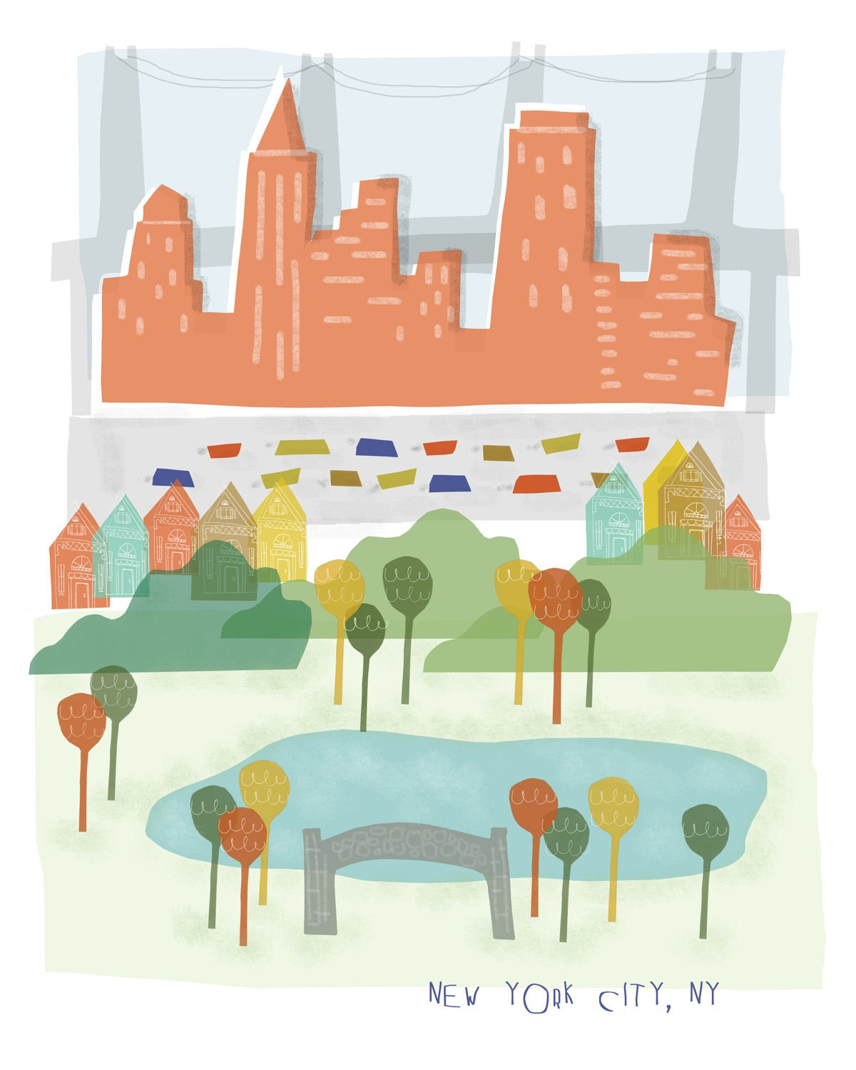 New York City art print illustration 11x14 NYC by confettielove