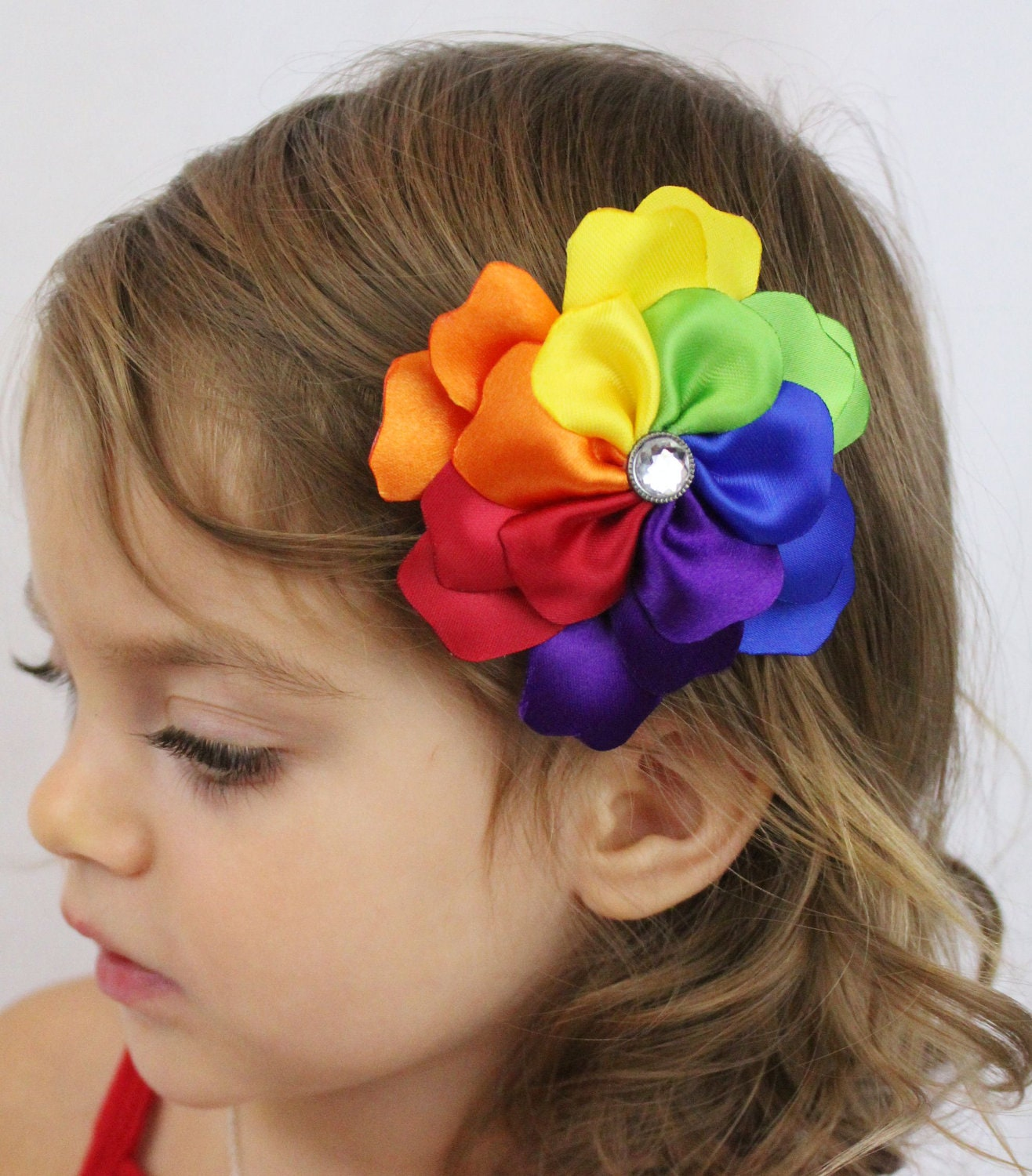 Rainbow Flower Hair Clip - Rainbow Petals - Rainbow Hair Bow Flower Girls Hair Bow - Rainbow Photo Prop