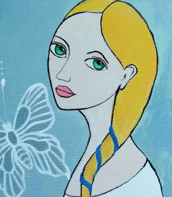 "Original Acrylic Painting ""White Butterfly"""